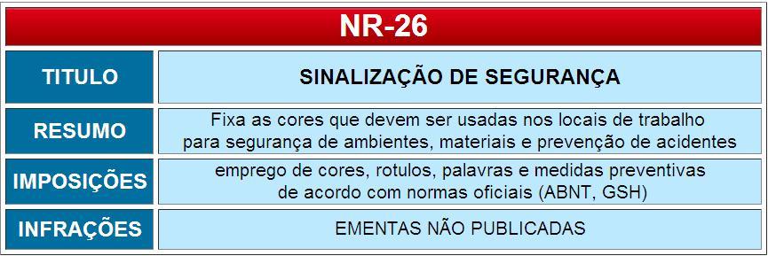 O Ministério do Trabalho atualizou a nova NR-26 SINALIZAÇÃO DE SEGURANÇA.  Este post é o último de uma série de inserções sobre a atualização de 3 NRs  desde ... 56feb23820